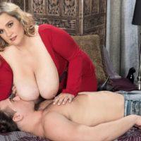 Golden-haired BBW Cami Cooper providing rubdown before unsheathing enormous titties for nip munching