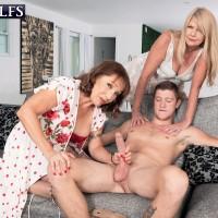 Granny adult film star Luna Azul and a nan pal of hers disrobe and lick a junior boy