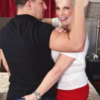 Nasty MILF on the other side of 60 Jewel entices a junior guy before slurping his boner