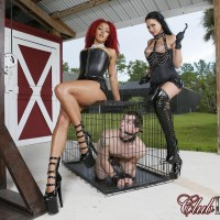 Beguiling honeys Daisy Ducati and Raven Bay dominate male slaves during outdoor act