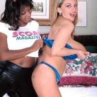 Mind-blowing stunners Sierra and Autumn Jade blow monster-sized breasts during bi-racial sapphic play