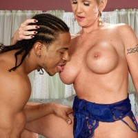 Provocative ash-blonde grandmother Honey Ray has her youthful black lover blow her gash and arse hole too
