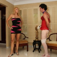 Fabulous platinum-blonde mistress Charlee Pursue forces her crossdressing sissy spouse to his knees