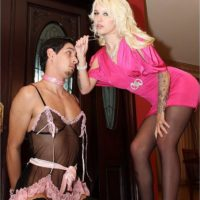 Beautiful blond wife Victoria puts her sissy husband Stevie into lingerie and stockings