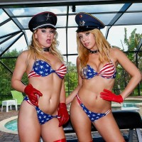 enticing blondes Mickey Tyler and Kelly Paige dominate a male slave in USA themed swimsuits