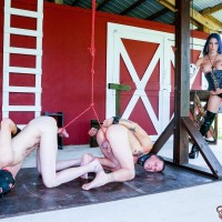 Beguiling black-haired Dominatrix Dava FoXX abusing and demeaning TWO masculine submissives