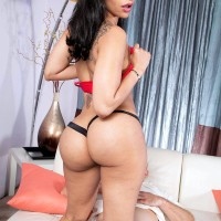 Tempting black chick Mary Jean bares her huge fun bags and bum from dress before sex