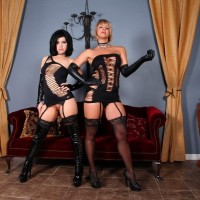 Provocative females Belle Noir and Brianna put a nude masculine submissive thru his paces in revealing clothes