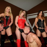 Inviting females in spandex garb and hip high boots abuse collared masculine submissives by a pool