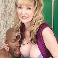 Wondrous grannie Janee Diamond deepthroats on a BBC after unsheathing her monster-sized boobs