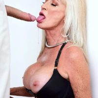 Seductive grandma Leah L'Amour BJ's and smashes a huge rod while her hubby sleeps