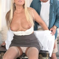 Tempting experienced gal Dallas Matthews unsheathes her lace undies while seducing a boy