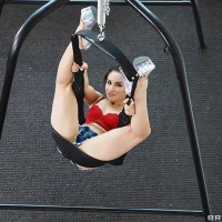 Killer MILF Gabriella Paltrova holds her provocative ass while boinking on a sex swing