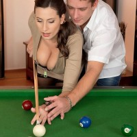 Jaw-dropping MILF Voluptuous Jane tit penetrates a guy after shooting pool in black tights