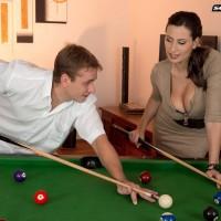 Fantastic MILF Voluptuous Jane boob boinks a boy after shooting pool in ebony pantyhose