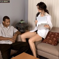 Irresistible senior woman Lake Russell entices a stud with a large black junk in his pants