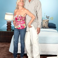 Stunning old gal Payton Hall is unclothed to g-string underwear by her junior black lover