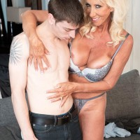 Fantastic over 60 MILF Madison Milstar tempts a younger guy in her boulder-holder and underwear