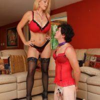 Super-sexy wife Charlee Chase makes crossdressing sissy suck a strap on dick on his knees