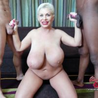 Humungous titted platinum golden-haired Claudia Marie takes on giant white and black hard-ons at once
