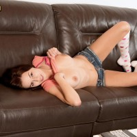 Knee sock attired teener X-rated actress Madi Meadows letting out immense all-natural funbags