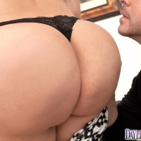 Latina female Daylene Rio reveals her gigantic ass from a ripped microskirt