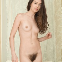 Tall first-timer black-haired Lisa Carry baring truly hairy beaver from underwear