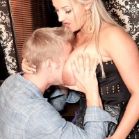 Spindly platinum-blonde solo girl Krystal Hasty pulling out lovely boobs from sundress for nipple tonguing