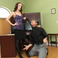 Bony blonde bossy type Haily Young forcing boy to submit to her femdom fantasies