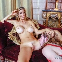 Gawky yellow-haired XXX actress Alexis Fawx having barefeet slurped by crossdresser in lingerie
