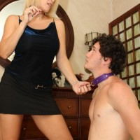 Lengthy legged ash-blonde girlfriend Charlee Haunt face banging collared submissive with strap-on wood