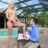 Slim blond mistress Vanessa Box makes her hubby wear a dog collar while adoring her