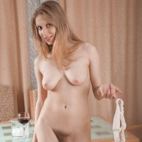 Leggy Euro first-timer Abigail unveiling flappy tits before unveiling unshaven snatch from panties