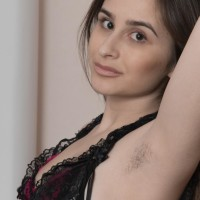 Lanky European first-timer Penelope Fiore flashing hairy armpits and spread vagina