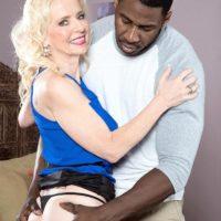 Leggy mature ash-blonde lady Cammille Austin prepping for sex with enormous ebony boner