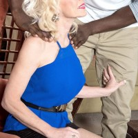 Leggy mature ash-blonde lady Cammille Austin prepping for sex with enormous ebony boner