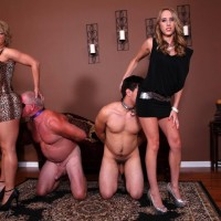 Gawky nymphs Cadence Lux and Brianna have sex sub boys with strap-on cocks