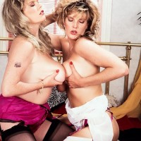 sapphic XXX film starlet Cathy Patrick and her mistress play with each other huge titties