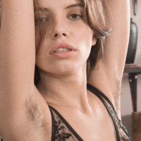 Lingerie garbed amateur Christy whipping out lil' hooters and fur covered gash from lingerie