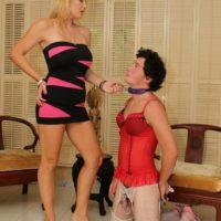 Long-legged blonde wife Charlee Chase dominates her crossdressing sissy maid