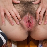 Lengthy socks garmented first-timer Vilma vaunting nice breasts and wooly slit