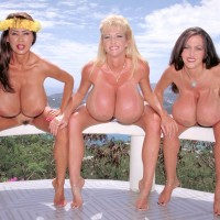 Expert Japanese broad Minka and two wives display off their gigantic boobs outdoors