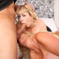 Aged ash-blonde BIG HOT WOMAN Kayla Kleevage and a gf partake in a three-way on a bed