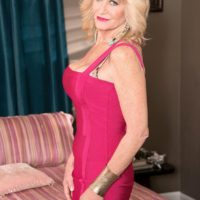Mature blonde dame Kendall Rex showcases her panties while seducing her son-in-law