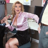 Aged platinum-blonde tutor Amanda Verhooks caught providing oral sex in microskirt