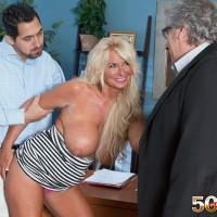 Senior platinum-blonde broad Annellise Croft flashing huge boobs in front of cuck