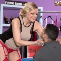 Experienced blond lady Lena Lewis tempts her youthfull lover in stockings and garters