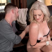 Expert golden-haired dame Val Kambel has her thong clad ass and a breast bared for her