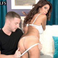 Senior brown-haired gal Layla LaMora having lingerie and undies disrobed off