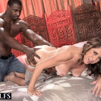 Mature dame Karen DeVille is unclothed by a black boy before taking his BIG BLACK PENIS in hand